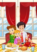Familj med måltid på matbordet vektor