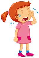 Tjej i rosa klänning som gråter vektor