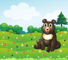 Ein Braunbär, der im Garten sitzt