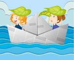 Papierboot mit zwei Mädchen vektor