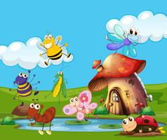 Insekter flyger runt dammen