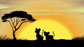 tiger och unga i en vacker natur