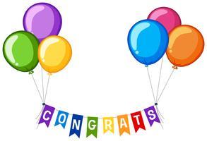 Hintergrunddesign mit Wortglückwünschen und bunten Ballonen