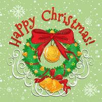 Glad julaffisch med klocka