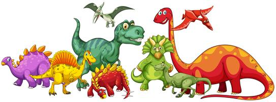 Olika typer av dinosaurier i gruppen