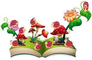 Bok av sniglar i trädgården vektor