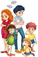 Familienmitglieder in verärgerten Stimmungen