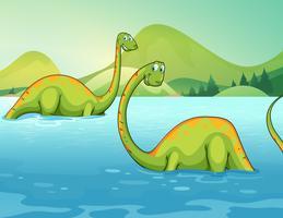 Dinosaurier står i floden vektor