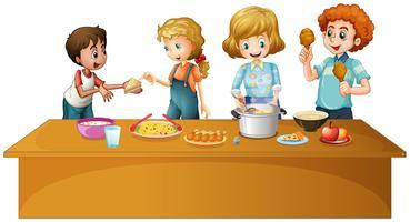 Familj med måltid på bordet vektor