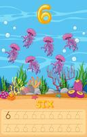 Unterwasserarbeitsblatt mit sechs Quallen