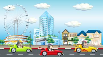 Scen med barn som kör bil på vägen vektor