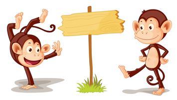 Affen mit Banner vektor