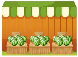 Ein Geschäft mit Wassermelonen mit leeren Brettern
