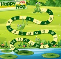 Boardgame-Vorlage mit grünen Fröschen im Park
