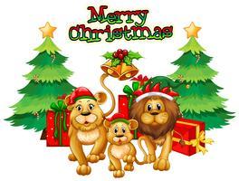 Weihnachtsthema mit Löwen und Bäumen vektor