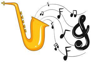 Saxofon med noter i bakgrunden