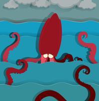 Havsmonster som simmar i havet vektor