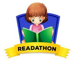 Wordcard för läsning med tjejläsningsbok vektor