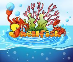 Krabbor som bor i havet