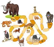 Spielvorlage mit wilden Tieren vektor
