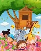 Barn och djur i trädgården vektor