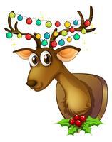 Weihnachtsmotiv mit Rentier und Lichtern