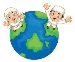 Muslimsk pojke och flicka på jorden vektor