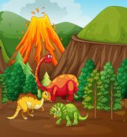 Dinosaurier, der im Wald lebt vektor