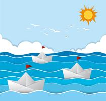 Origami båtar seglar i havet vektor