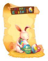 Fröhliche Ostern-Plakatauslegung mit Häschen und Eiern vektor