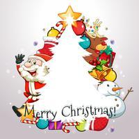 Jul tema med Santa och ornament vektor