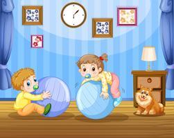 Två småbarn på stora bollar vektor