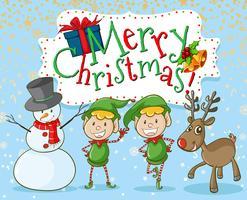 Weihnachtself und Schneemann vektor