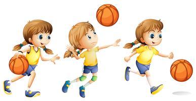 Mädchen, das verschiedene Sportarten spielt