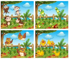 Szenen mit Tieren auf dem Hof vektor