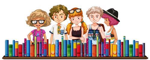 Fem tonåringar och många böcker vektor
