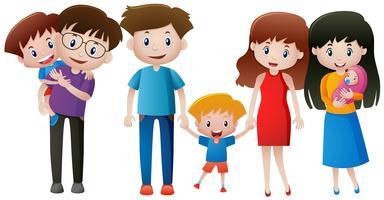 Familjemedlemmar med föräldrar och barn