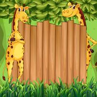 Gränsdesign med två giraffer vektor