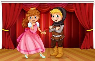 Prinzessin und Ritter auf der Bühne vektor