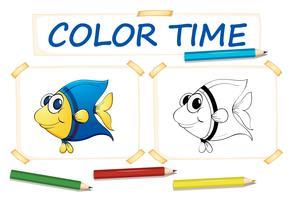 Färgmall för söt fisk vektor
