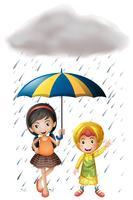 Zwei Kinder mit Regenschirm und Regenmantel im Regen