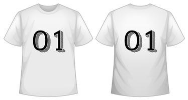 Vit t-shirtmall med fram och bak vektor