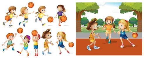 Mädchen und Jungen, die Basketball spielen vektor