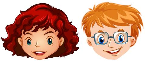 Mänskligt huvud för pojke och tjej