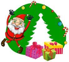 Jul tema med Santa och presenter vektor