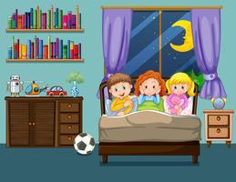 Tre barn på sängen vektor