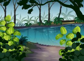 Pond i skogen Scene på natten vektor