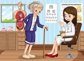 Doktor und alte Frau in der Klinik vektor