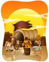 Vilda djur vid vagnen