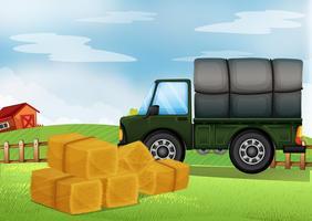 En lastbil på gården vektor